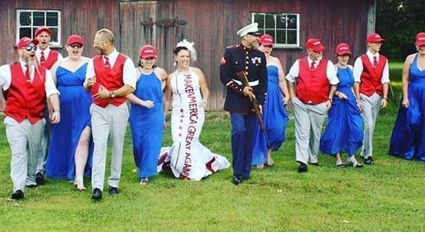 the bride wore a maga printed dress at the reception while the groom sported a full dress uniform