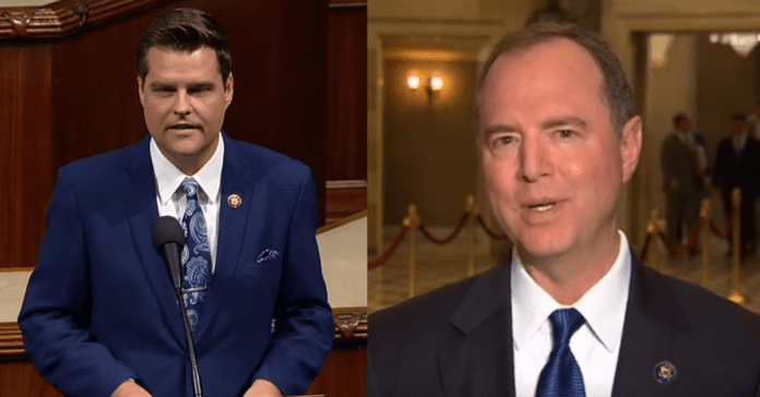 Adam Schiff Consults With Sergeant of Arms After Matt Gaetz And GOP Storm Secure Hearing