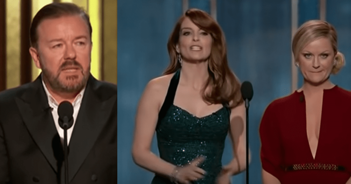 """Golden Globes Replace Ricky Gervais With Poehler, Fey After his Jokes Rattle """"Woke"""" Crowd"""