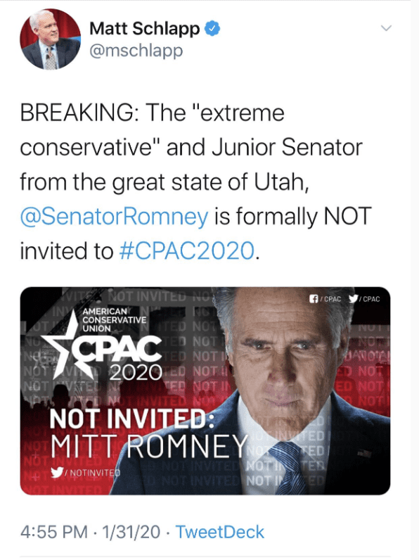 CPAC Chair Announces Romney Not Invited to CPAC 2020 After Voting With Dems