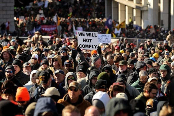 thousands of patriotic citizens marched on the virginia state capitol to defend their second amendment rights