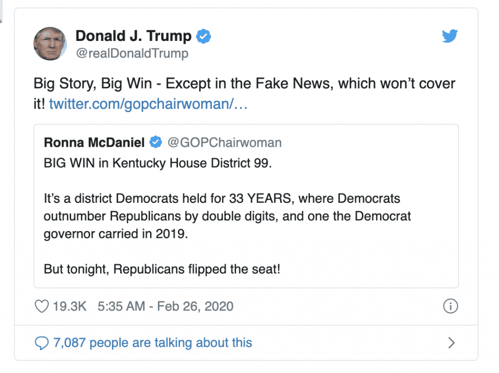 Trump Responds to GOP Winning House Seat Held By Dems for 33 Yrs