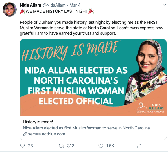 WATCH: Nida Allam Elected as North Carolina's First Muslim Woman Elected Official