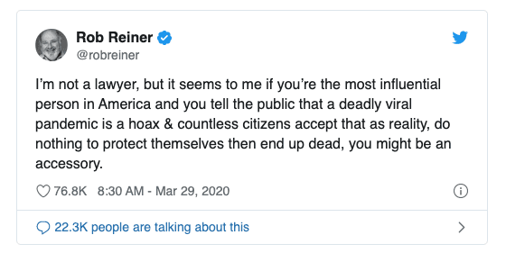 "BREAKING: Rob Reiner Suggests Trump Could Be an ""Accessory"" to Murder"