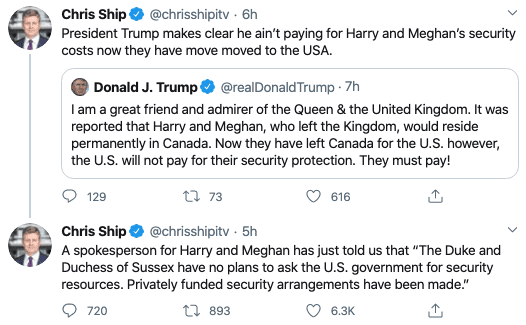 BREAKING: Harry and Meghan Spox Responds to Trump's Tweet, Says They'll Pay for Their Own Security