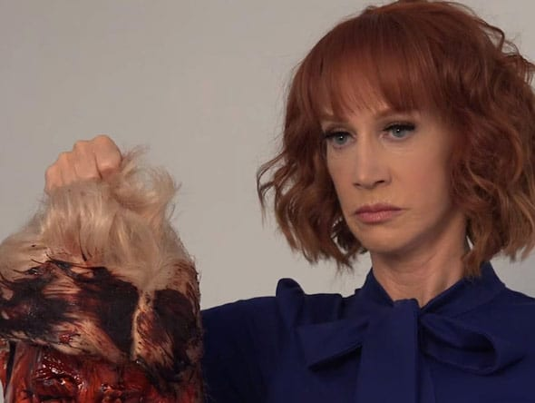 kathy griffin triggered national outrage when she posed with a severed head in trump s likeness