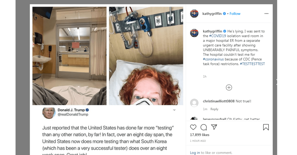 """Kathy Griffin Hospitalized In Isolation Ward With """"Unbearably Painful Symptoms""""'"""