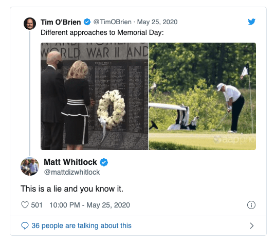 Bloomberg aide slammed for using photo from another day to claim Trump golfed on Memorial Day