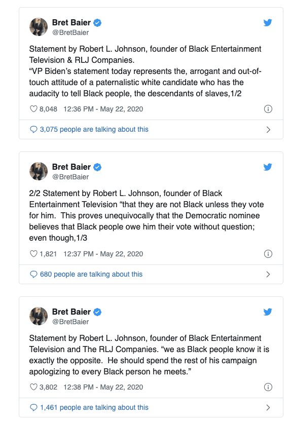 """BET Founder: Biden """"Should Spend the Rest of His Campaign Apologizing to Every Black Person He Meets"""""""