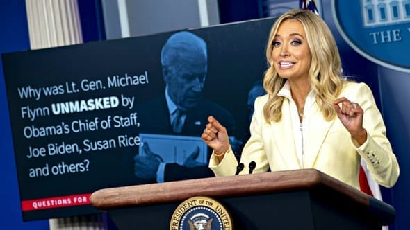 white house press secretary kayleigh mcenany shredded reporters as she showed them a slide show to explain the unmasking scandal