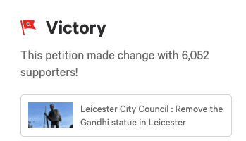 Petition to Remove UK Gandhi Statue Gathers Over 6,000 Signatures
