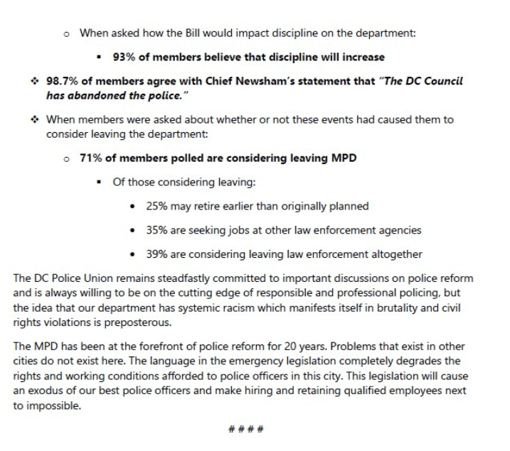 Police Union Survey finds 71% of DC officers considering leaving amid sweeping reforms