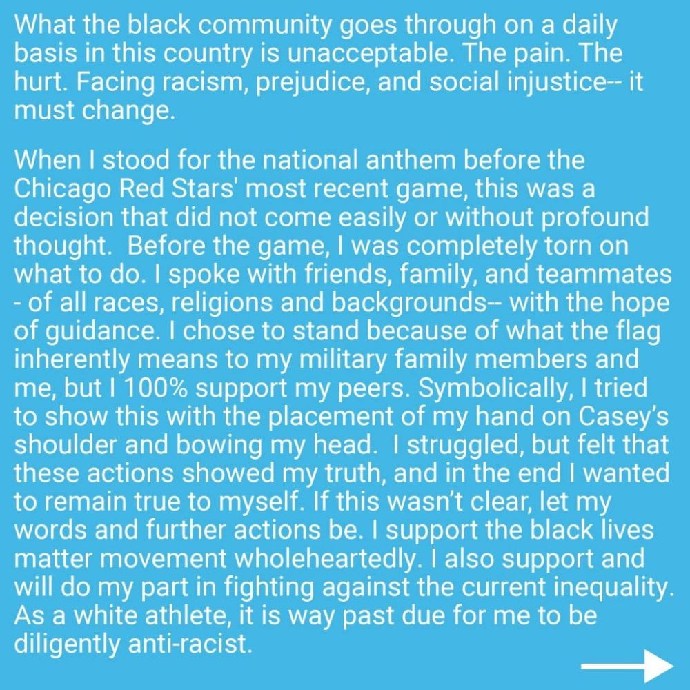 Rachel Hill issues statement on why she didn't kneel with teammates during anthem