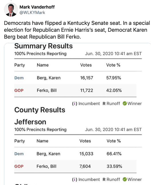 BREAKING: Dems Flip KY State Senate Seat Held by GOP for 25 Years