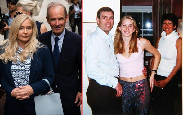 virginia roberts left 2nd right lawyer david boies 2nd left says prince andrew center was secretly filmed by epstein and maxwell right