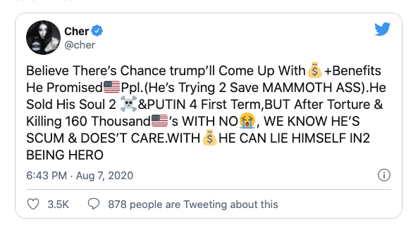 """Cher """"Trump killed Latino Children, cause he thought Trumpians would be happy"""""""