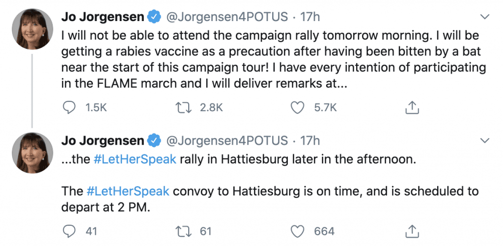 Libertarian Presidential Candidate Cancels Rally After Being Bitten by a Bat