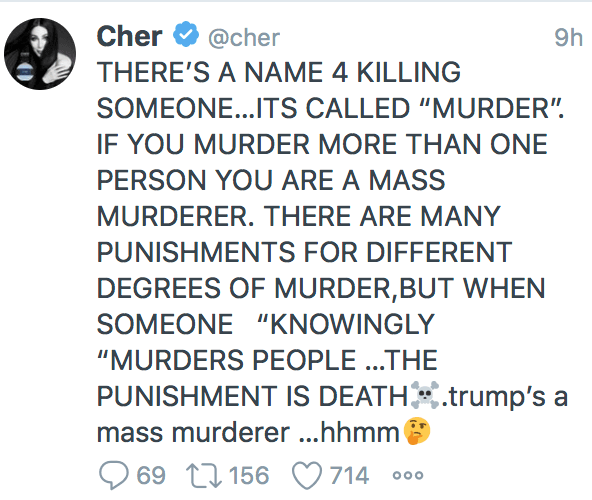 """Cher warns Trump will """"get his wish"""" of being """"Supreme Leader"""" if he wins or steals a 2nd term"""