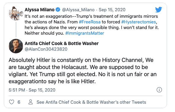 """Alyssa Milano claims """"Trump's treatment of immigrants mirrors the actions of Nazis"""""""