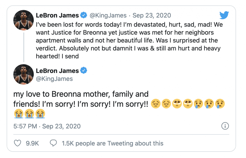 "LeBron reacts to Breonna Taylor jury decision, says ""The most DISRESPECTED person on earth is THE BLACK WOMAN!"""