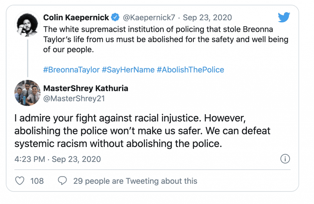 """Colin Kaeperinck """"the white supremacist institution of policing that stole Breonna Taylor's life from us must be abolished"""""""