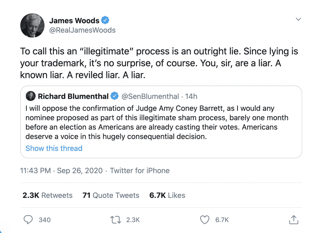 """James Woods rips """"known liar"""" Blumenthal for claiming SCOTUS nomination is """"illegitimate"""""""