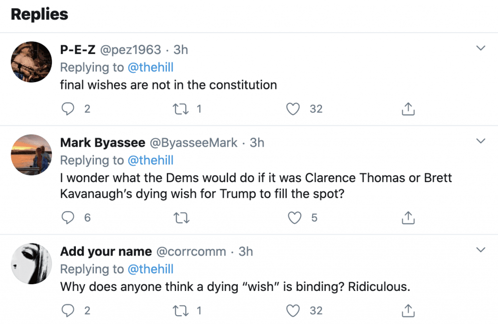"""Kamala Harris """"the President and his party have chosen to ignore Justice Ginsburg's final wish"""""""