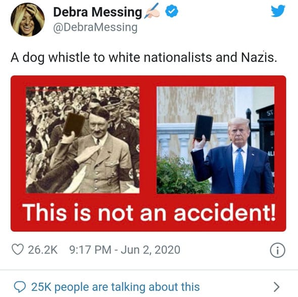 debra messing was previously caught sharing a fake image in an attempt to deceptively link trump to hitler