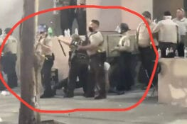 [VIDEO] Louisville police officers ATTACKED by rioters, one falls to ground when hit in head with large object