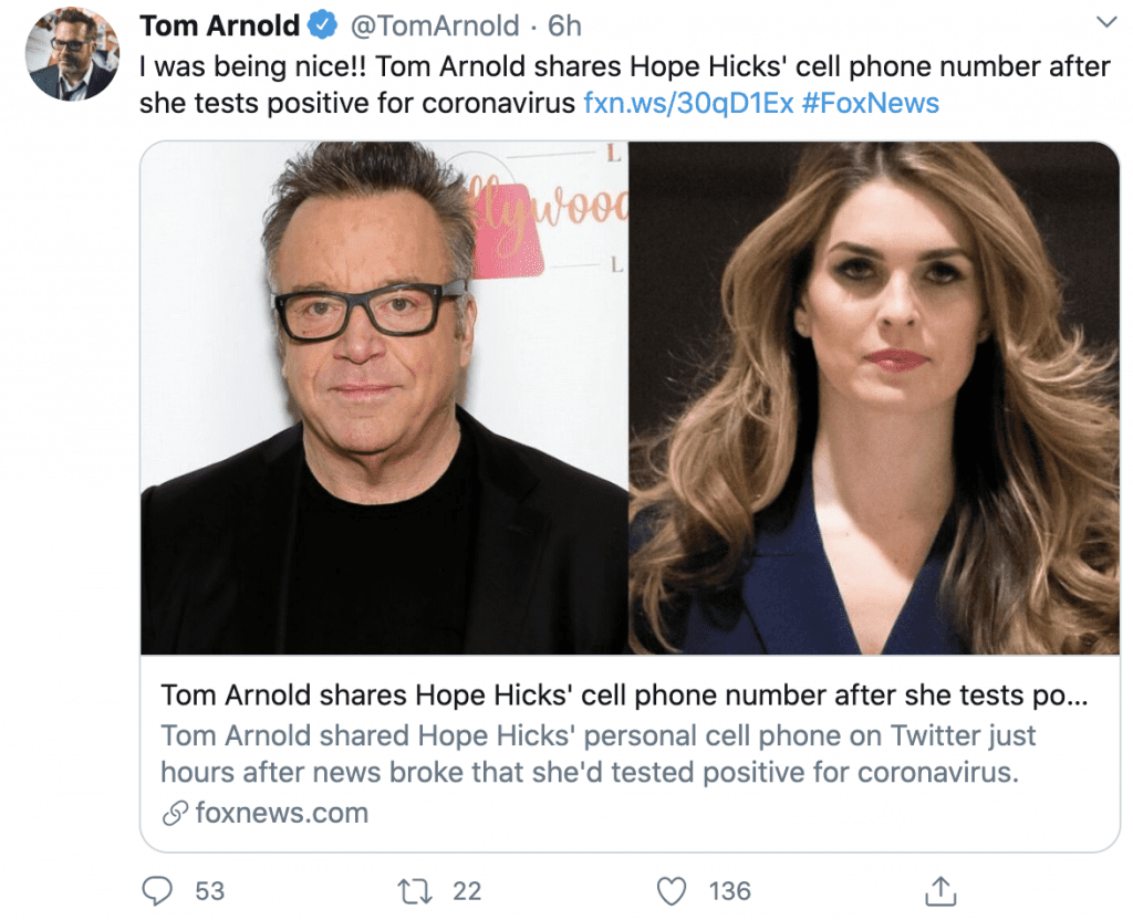 Tom Arnold shares Hope Hicks' alleged phone number after she tests positive for Covid-19