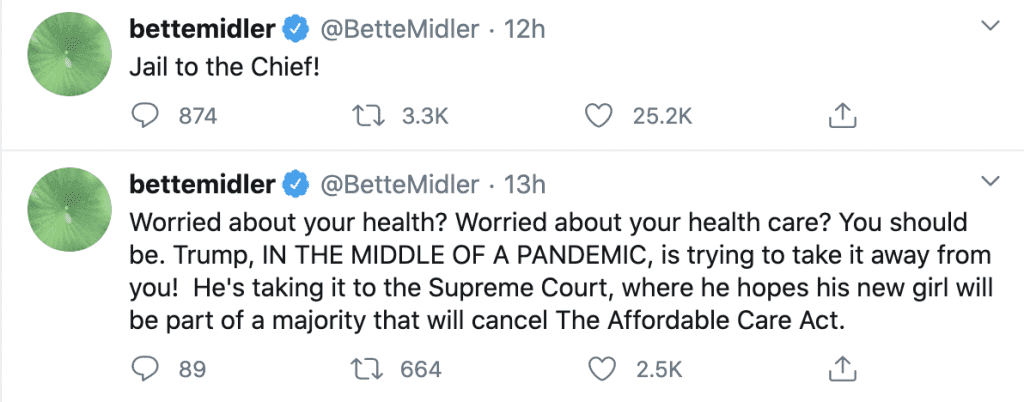 """Bette Midler """"Trump's quarantining will mean no rallies, and no more debates. Convenient."""""""