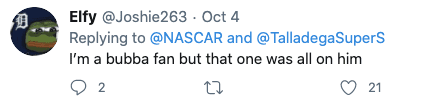 """Bubba wrecks out of Talladega after boasting """"this should piss the haters off"""" while holding a lead"""
