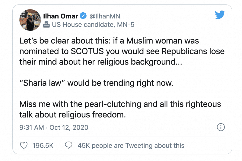 """Omar says """"if a Muslim woman was nominated to SCOTUS you would see Republicans lose their mind"""""""