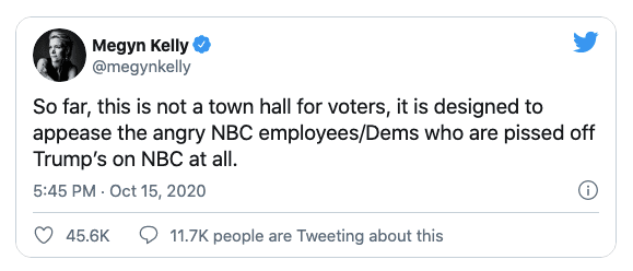 """Megyn Kelly rips NBC town hall as """"designed to appease the angry NBC employees/Dems"""""""