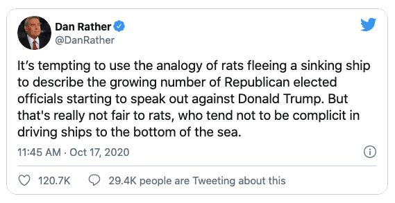 """Dan Rather compares Republicans to """"rats"""" then says """"that's really not fair to rats"""""""