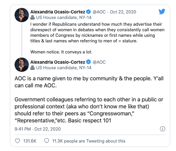 """AOC takes issue with Trump referring to her as """"AOC"""" as opposed to """"Congresswoman"""""""