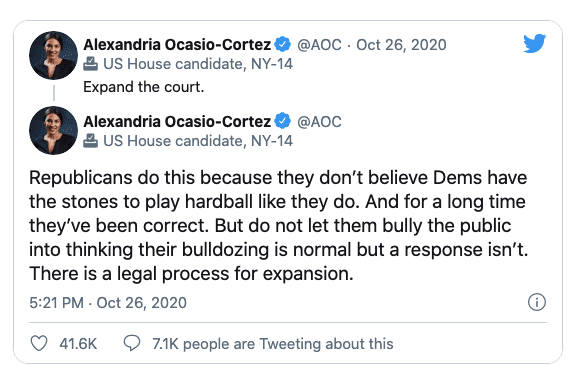 """AOC Reacts to Barrett confirmation, calls for expanding the Supreme court """"they don't believe Dems have the stones to play hardball"""""""