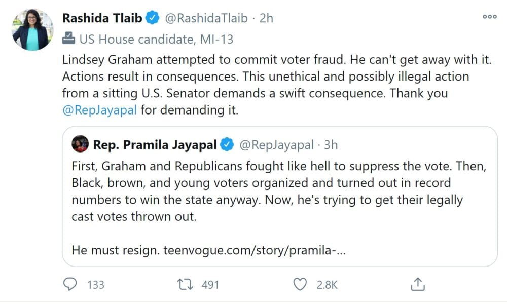 "Lindsey Graham fires back after Omar, Jayapal call for him to resign, says ""I must be doing something right"""