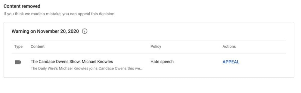 "YouTube has deleted a video featuring Candace Owens, labeling it ""Hate Speech"""