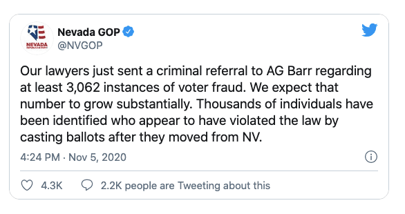 "Nevada GOP announces criminal referral to AG Barr alleging ""at least 3,062 instances of voter fraud"""