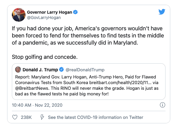 """Maryland's Republican Governor demands Trump """"Stop golfing and concede"""""""