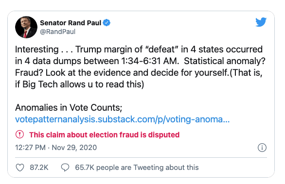 """Dems fume after Rand Paul questions if """"statistical anomaly"""" or """"fraud"""" took place in key swing states"""