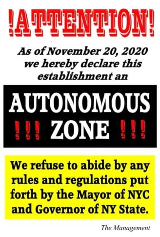 'AUTONOMOUS ZONE': NY Pub REFUSES to close, DEFIES license by making drinks FREE, and DARES Cuomo, De Blasio to come stop them