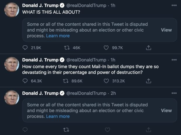 Twitter is on a censoring RAMPAGE after Trump's tweets about the election this morning