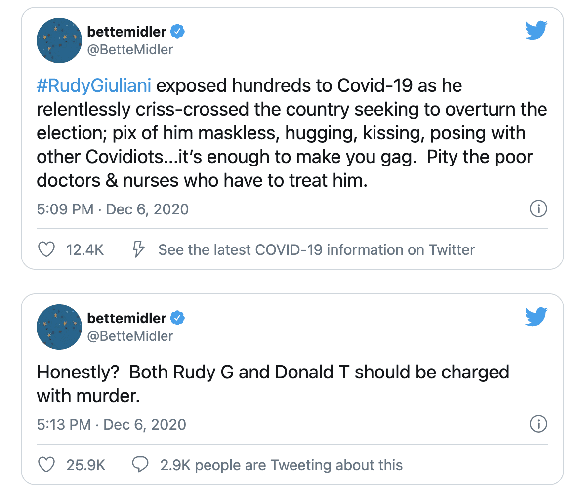 Bette Midler calls for both Giuliani and Trump to be Charged with Murder