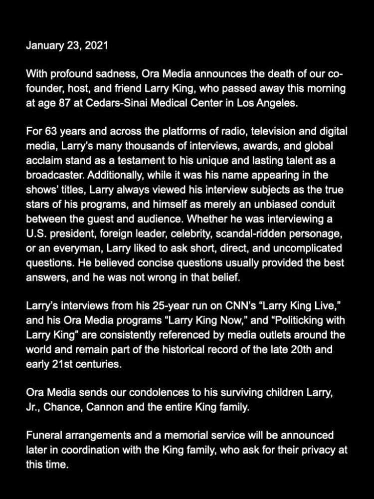 BREAKING: Tributes Pour in as Larry King dies at age 87