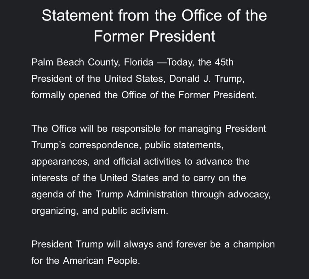 """BREAKING: Trump issues statement, establishes """"Office of the Former President"""""""