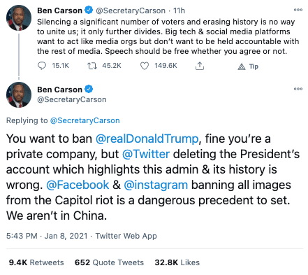 """Ben Carson reacts to Trump being banned from Twitter """"Silencing a significant number of voters and erasing history is no way to unite us; it only further divides"""""""