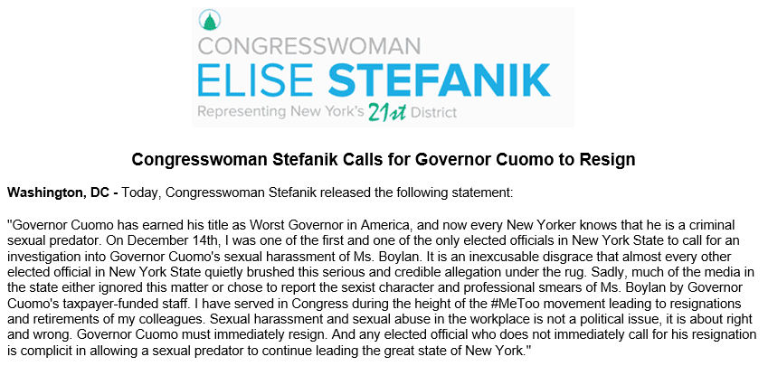 """BREAKING: Rep. Stefanik calls for Cuomo to resign, says """"Governor Cuomo earned his title as Worst Governor in America"""""""