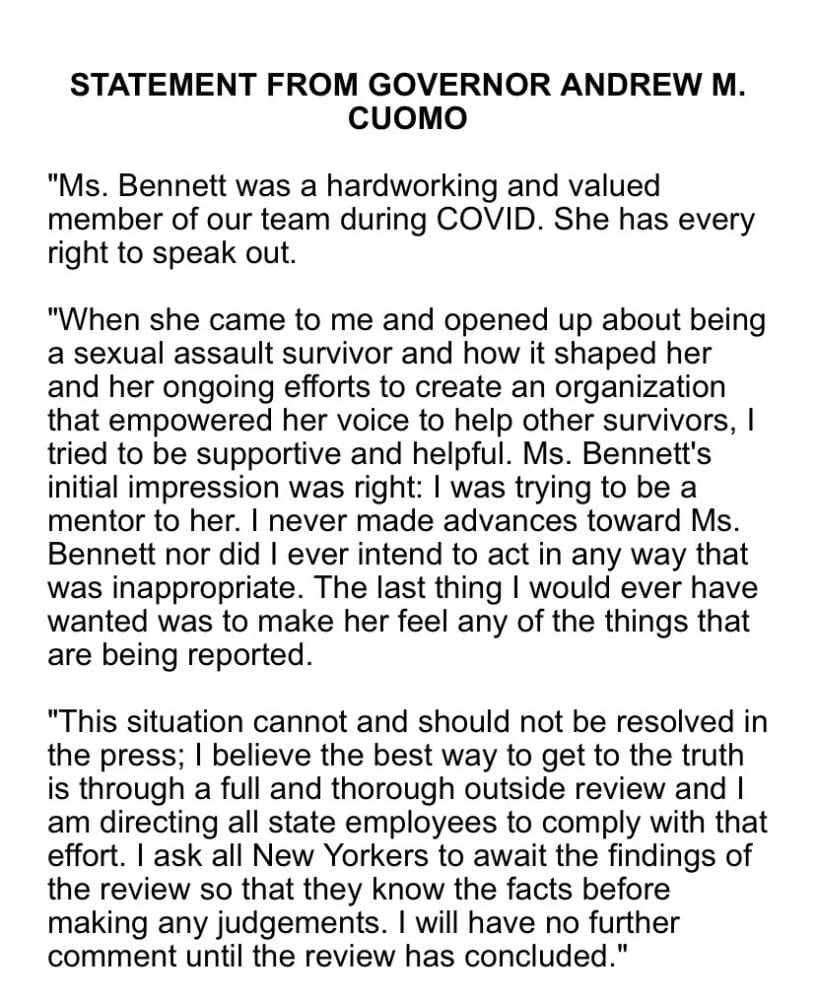 BREAKING: Cuomo issues statement after 2nd aide accuses him of sexual harassment